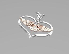 Heart Wings pendant 3D print model