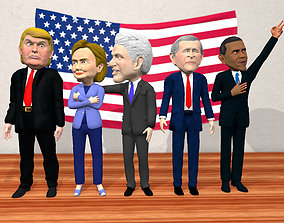 US politicician caricatures pack low 3D asset
