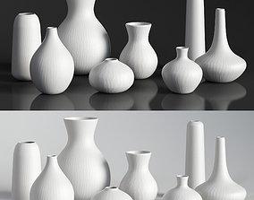 RH MATTE WHITE GLASS VASE COLLECTION 3D