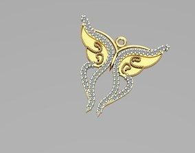 3D print model gold sintered butterfly pendant