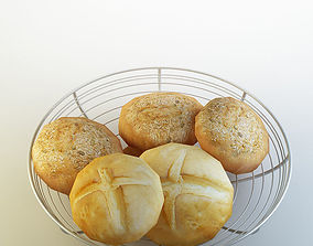 3D model Basket bread
