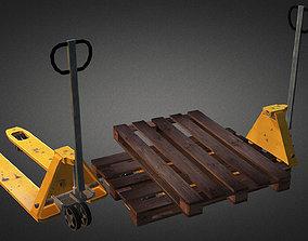 pallet truck and pallet 3D asset