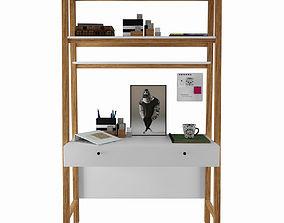 3D model Modern Wall Desk West elm with decor