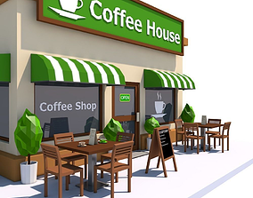 Low Poly Coffee House 3D asset
