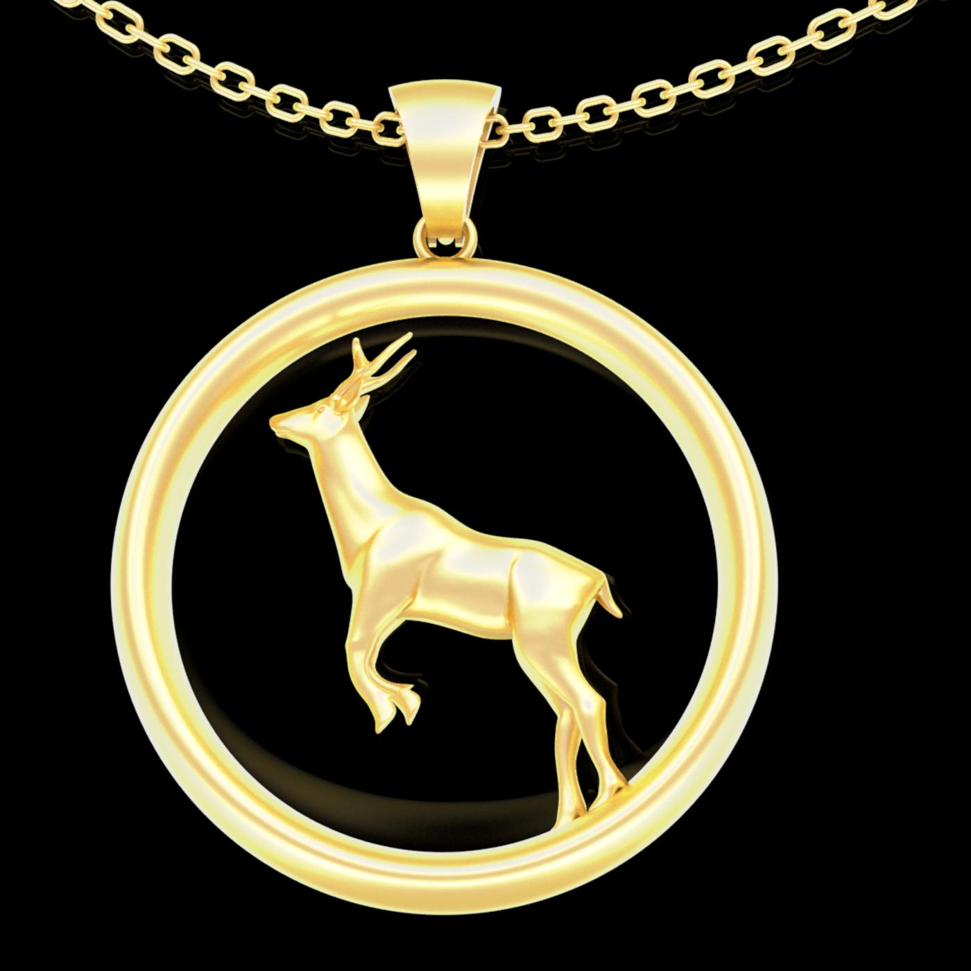 Deer Pendant jewelry Gold 3D print model