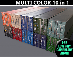 3D model PBR 40 ft Shipping Container - Multi color Pack