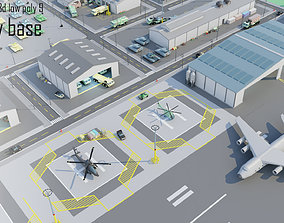 Tile pack city 3d low poly 9 military base game-ready