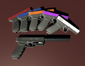 3D asset Diverse PBR Handgun