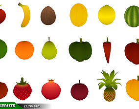 Cartoon Fruits And Vegetables Collection Pack 3d low-poly