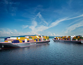 3D model Cargo container ship