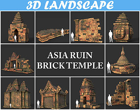 3D asset Low poly Mossy Brick Ruin Asia Temple Pack
