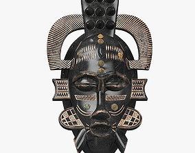 3D model low-poly African masks Senufo Porcupine