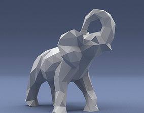 Low Poly - Triangulated Stylized elephant 3D print model