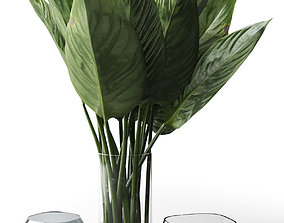 3D Glass Vases with Leaves