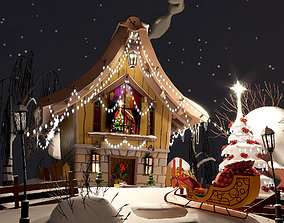 Christmas House 3D asset