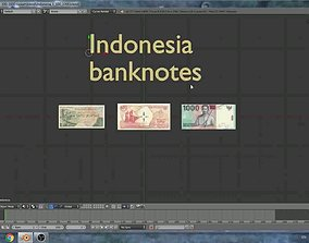 3D asset Indonesia - simple models of 3 banknotes