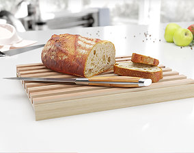 Wooden cutting board with bread 3D model