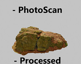 Rock Stone Scan Lowpoly Processed Mossy Forest 3D model