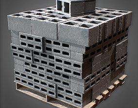 3D model CON - Concrete Cinder Stack and Palette - PBR 1