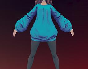 Cartoon woman 3D asset