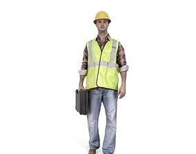 3D Worker with Yellow Helmet and Toolbox