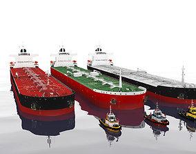 3D asset Panamax tanker and tugboat