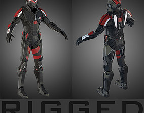 Futuristic soldier RIGGED 3D
