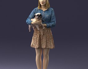 mammal 3D Woman with dog 0921