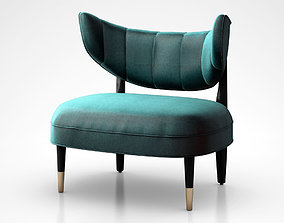 Rue side chair with green velvet upholstery 3D model
