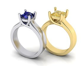 Solitaire Classic 4 prong ring 3d model Two type of 1