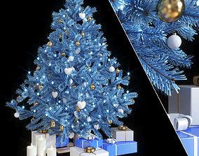 3D Fir-tree artificial New Year blue