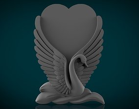 memorial tombstone with swan 3D