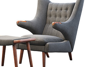 PP19 Papa Bear chair and ottoman 3D model