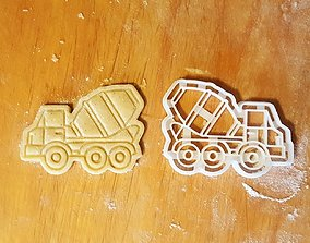 Concrete mixer truck cookie cutter 3D print model