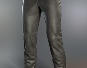 Leather pants with removable buttons 3D asset