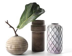Vintage Vases with Leaf 3D branch