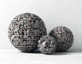 Gabion sphere form 3D model flowerbed