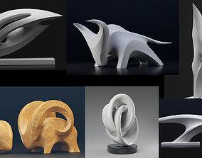 3D model Modern abstract sculptures bundle