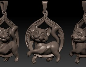 Cat Pendant for production 3D print model little
