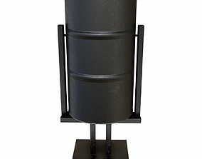 The metal trash can 2 3D asset