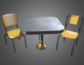 MCN - Retro Table and Chairs 04 Midcentury - 3D model 2