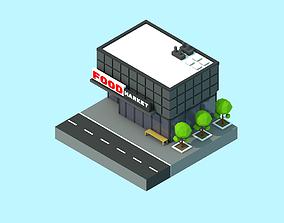 Food market building cartoon 3D asset game-ready