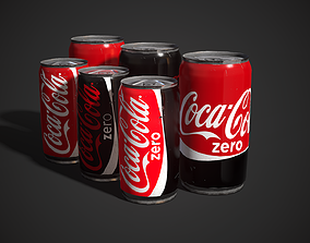 3D model realtime Low poly Coca-Cola can 335ml - 222ml