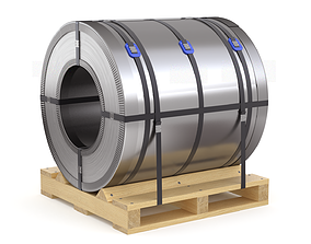 3D model Steel Coil and Wooden Pallet