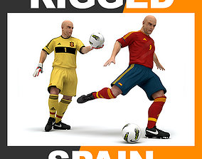 Rigged Football Player and Goalkeeper - Spain National 3D