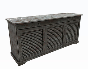 3D asset Old painted cabinet