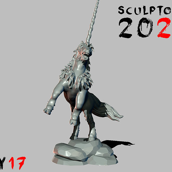 Sculptober Day 17 Medieval Unicorn