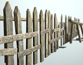 3D asset Old wooden fence