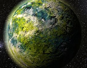 3D asset Green alien planet