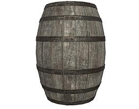 3D model game-ready Old Wooden Barrel